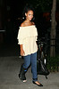 """EXCLUSIVE<br /> 5 Aug 2007 - New York, NY - Rihanna out and about for dinner after attending Beyonce's concert despite having hurting her right foot earlier during the week.  When concerned paparazzo asked about her foot she replied, """"It's healing great!""""  Photo Credit Jackson Lee"""