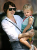 03 Sept 2007 - New York, NY - Michelle Williams appears smiling, happy, and radiant despite news reports about her break up with Heath Ledger while out and about with baby Matilda on Labor Day.  Matilda has bandaids on her elbow and knee.  Photo Credit Jackson Lee