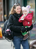 Jennifer Garner and Violet, with a chocolate holiday crispie pop in hand, visit a children's museum on the upper west side in NYC