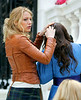 14 March 2008 - New York, NY - Blake Lively and Leighton Meester films a scene of Gossip Girls where Leighton gets splattered with yogurt on her head.   Photo Credit Jackson Lee/Ahmad Elatab