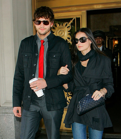 4 May 2008 - New York, NY - Ashton Kutcher and Demi Moore out and about in NYC.  Ashton went to a press junket for his new.  Demi Moore went to a DKNY event.   Photo Credit Jackson Lee