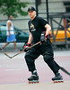 10 May 2008 - New York, NY - Tim Robbins play roller hockey in the West Village, NYC.  Photo Credit Jackson Lee
