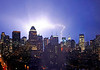 8 June 2008 - New York, NY - Lightning strikes the Empire State Building and other buildings causing debris to fall off during a severe thunderstorm in a sweltering NYC.  Photo Credit Jackson Lee