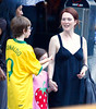 EXCLUSIVE<br /> 10 June 2008 - New York, NY - Julianne Moore, son Caleb Freundlich, Liv Helen Freundlich go sunglass shopping in a blazing 100+ degree weather in NYC.  They later had lunch at Morandi.  Photo Credit Jackson Lee
