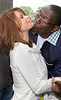 Randy Jackson lovingly kisses Paula Abdul on the chin<br /> outside the Mandarin Oriental Hotel in NYC<br /> 05/19/2005<br /> LJNY