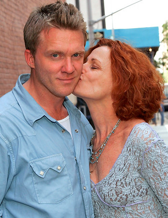 30 June 2006 - New York, NY - Anthony Michael Hall and Mercedes Hall pose for pictures outside Sony Music Studios.  Mercedes, who plays Hall's mom in 'The Breakfast Club', is at the studio to record her new jazz album.  Photo Credit Jackson Lee