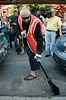 14 Aug 2006 - New York, NY - Boy George (aka George O'Doud) sweeps the streets of New York's Chinatown to serve his community service sentence.  Photo Credit Jackson Lee