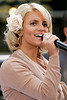 1 September 2006 - New York, NY - Jessica Simpson performs live on NBC's Today Show at Rockefeller Center despite just having recovered from laryngitis this week.  During song breaks she was drinking from a dark bottle of cough medicine  Photo Credit Jackson Lee