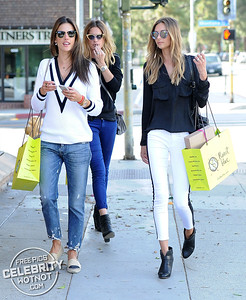 EXCLUSIVE: Alessandra Ambrosio Wears A Cricket Sweater Shopping With Brazilian Model Michelli Buback, LA