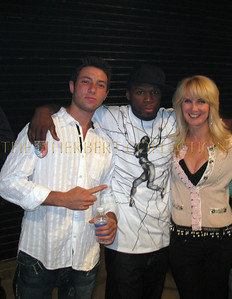 Ryan Klarberg, 50 cent, Sara Herbert-Galloway backstage