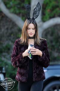 Alessandra Ambrosio Halloween Bunny Ears & Revealing Black Jumpsuit, LA