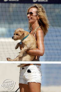 Lady Victoria Hervey Fashions Bikini Top With Dogs in Malibu, CA
