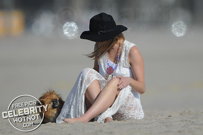 Mischa Barton Shows Off Beach Body In A White Bikini, CA