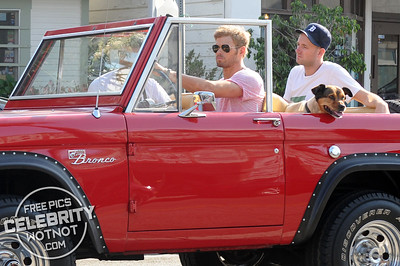 EXC: Kellan Lutz Takes Dog, Kola, For Ride In Red Ford Bronco
