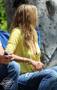 Heidi Klum Wears Revealing Yellow Silk Shirt in Los Angeles, CA