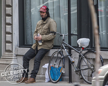 Keanu Reeves Wears His Arch Motorcycle Cap Taking A Break From Filming 'John Wick 2' In Montreal, Canada