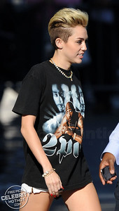 Miley Cyrus Shows Off Short Blonde Hair In Retro 2PAC Tee in Hollywood, LA