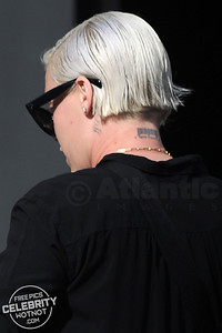 EXC: P!NK Shows Off Barcode Tattoo In Short Blonde Haircut