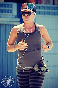 EXC: P!NK Pounds The Pavement Keeping Fit In LA