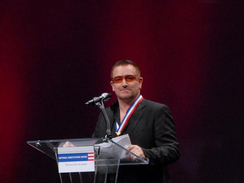 Bono and his charity receives the 2007 Liberty Medal and $100,000  in Philadelphia 9/27/07