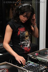Actress, Michelle Rodriguez, DJ's a Sea Shepherd fund raiser in Los Angeles. © Erin Suggett Photography.  All Rights Reserved.