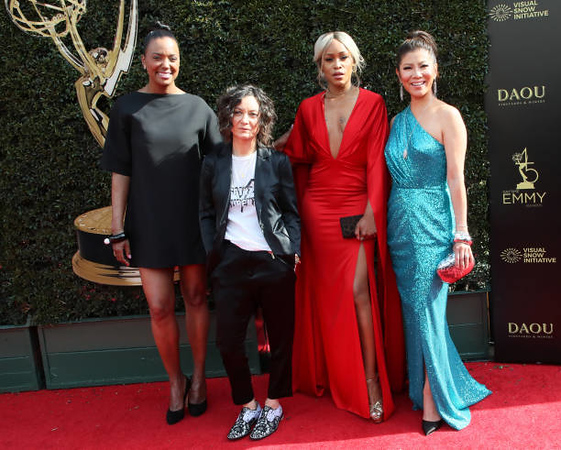PASADENA, CA - APRIL 29:  (L-R) Aisha Tyler, Sara Gilbert, Eve and Julie Chen attend the 45th annual Daytime Emmy Awards at Pasadena Civic Auditorium on April 29, 2018 in Pasadena, California.  (Photo by David Livingston/Getty Images)