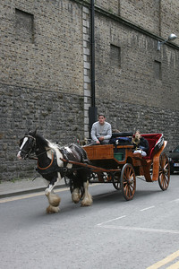Horse and buggy taking people to the Guinness Tour.