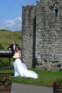 Some local couple having their wedding pictures taken at Trim Castle.