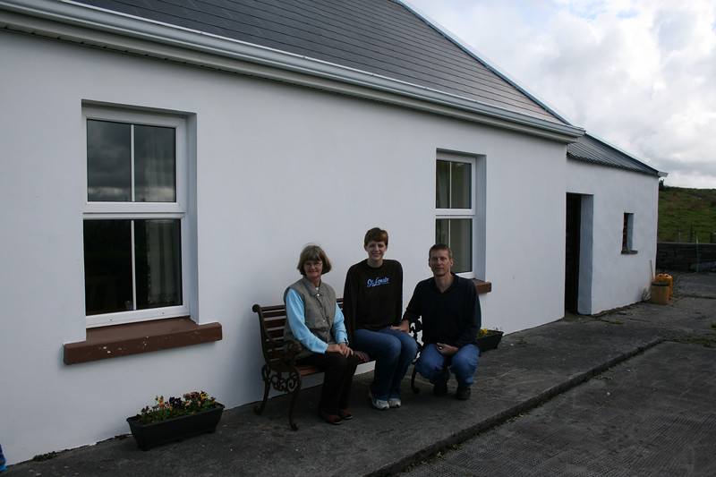 Bridie, Jackie and Dan and the cottage