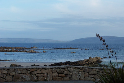 Spiddle Ireland, looking out over Galway Bay to the Aran Islands.