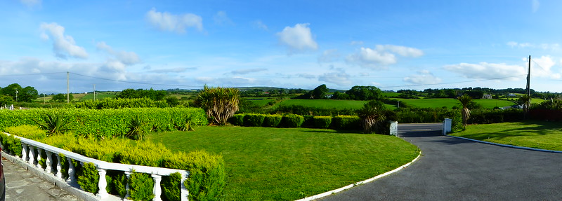A wide angle of the view from the bedroom.