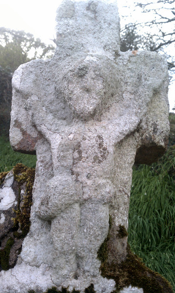 Close up of the cross on top of St Declan's well.