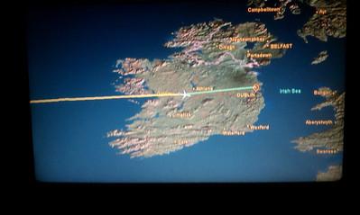 Flying over Ireland.