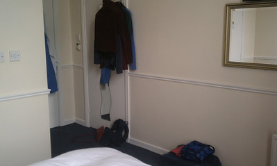 """the """"closet"""" was a rod sticking out of the door - they did bring extra hangers when we asked."""