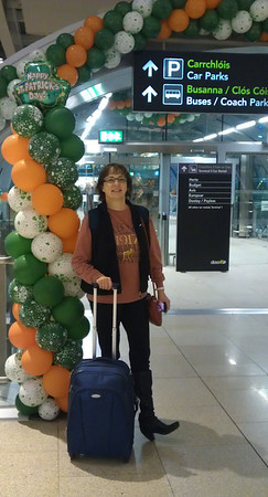 Arriving at Dublin Airport - where they DO celebrate St Patrick's Day!!  Notice the little suitcase, the daypack is on my back, and the little purse.  (And I'm wearing the boots so I didn't have to pack them - and they're relatively easy to take off for screening.)