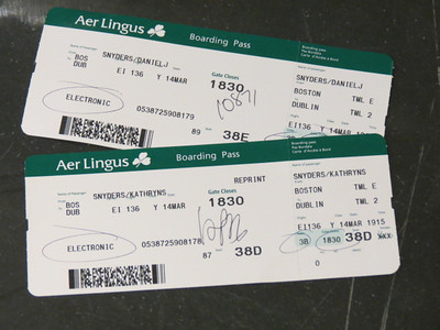 Aer Lingus from Boston to Dublin.