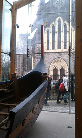 Inside Dublinia looking out at Christ Church Cathedral.