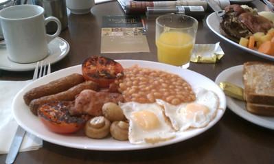 Kathie's traditional Irish Breakfast with fresh squeezed orange juice.  Yum!
