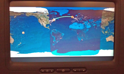 Boston to Dublin - showing where it's night time.