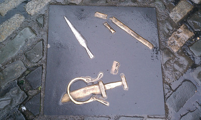 At the end of a battle, the Irish would trow their weapons in the river.