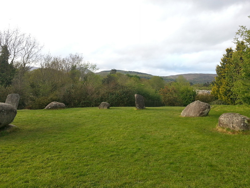 This is the biggest stone circle in the south-west of Ireland where about 100 examples occur.   Stone circles were built during the Bronze age (2,200 - 500BC) for ritual and ceremonial purposes.  Some studies have indicated that they were orientated on certain solar and lunar events, such as the position of the sun on the horizon on a solstice.