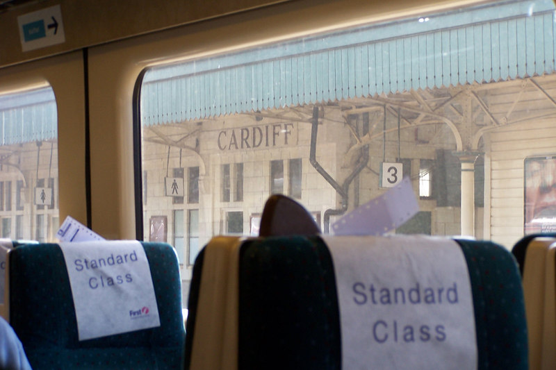 On the bus through Cardiff - that part of the rail was temporarily down - had to take a bus part of the way.