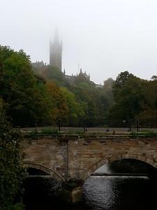 Glasgow University - shrouded in mist.