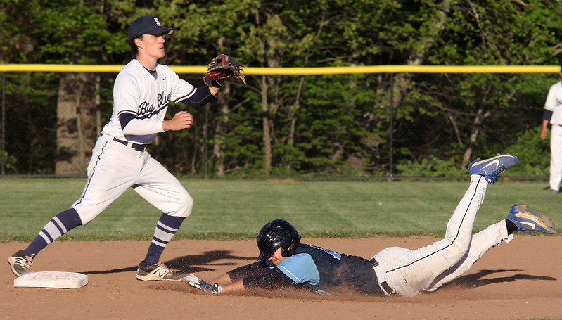 Swampscott, Ma. 5-24-17.  Jake Zeuli of Peabody gets to second base before the ball gets to Matt Legere of Swampscott.