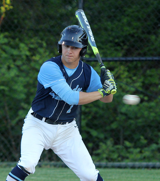 Swampscott, Ma. 5-24-17. Jake Gustin of Peabody looks at a strike in thier game aganist Swampscott.