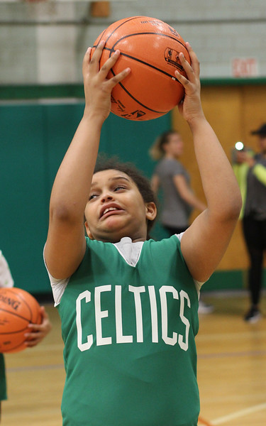 Lynn, Ma. 5-24-17. April Aguero doing ball drills during the basketball clinic run by the Boston Celtics at the Lynn YMCA.