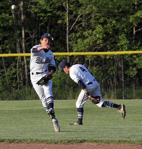 Swampscott, Ma. 5-24-17. Sean Lahirizi of Swampscott throws to first in their game agaisnt Peabody.
