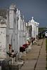 Looking down the Main Isle of Buras Town Cemetery, Louisiana