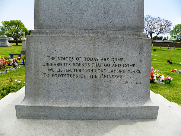 Whittier's words on the Dwyer Pioneer Monument.