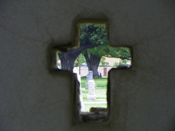 View through the Rimpau mausoleum from the south wall cross.